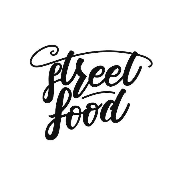 屋台の食べ物のレタリング Premiumベクター