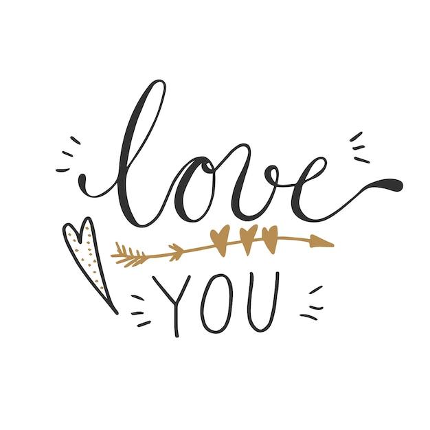 心臓と矢印の装飾と言葉を愛するのベクトル図。 Premiumベクター