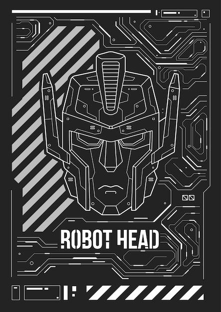 ロボットの頭を持つ未来的なポスター Premiumベクター