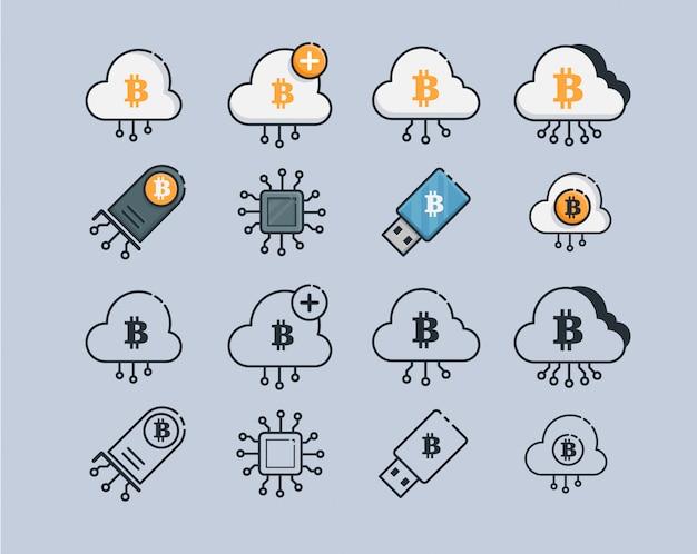 Горная криптовалюта иконы. современная компьютерная сеть технологии знак набор Premium векторы
