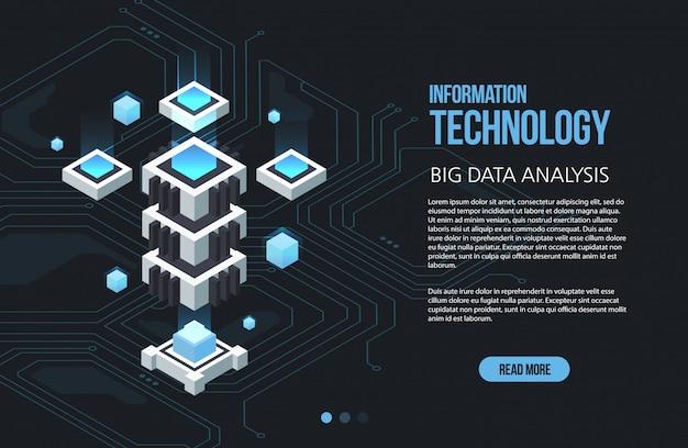Концепция обработки больших данных, изометрические центра обработки данных, обработки и хранения векторной информации. творческая иллюстрация с абстрактными геометрическими элементами. Premium векторы