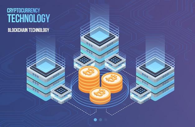 Блокчейн сетевой бизнес шаблон. криптовалюта и изометрическая композиция блокчейна. горные абстрактные технологии. система цифровых денег. макет для сети и приложения. Premium векторы