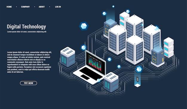 Изометрическая серверная комната и концепция обработки больших данных, значок центра обработки данных и базы данных Premium векторы