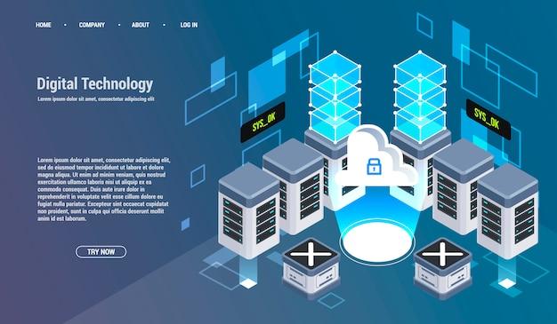 ビッグデータセンター、情報処理、データベースの計算。インターネットトラフィックルーティング、サーバールームラック等尺性ベクターテクノロジー。 Premiumベクター