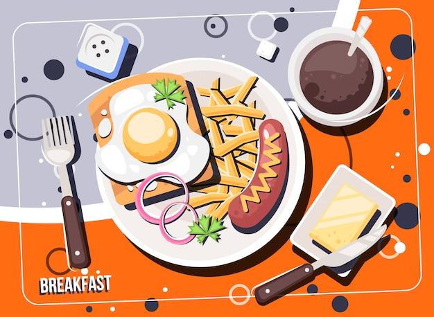 Вектор завтрак с едой и напитками. завтраки и бранчи вид сверху кадр. Premium векторы