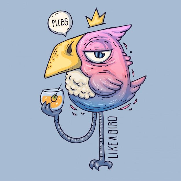 漫画の鳥はガラスから飲みます。高慢な表情のバーディー。漫画のベクトル図 Premiumベクター