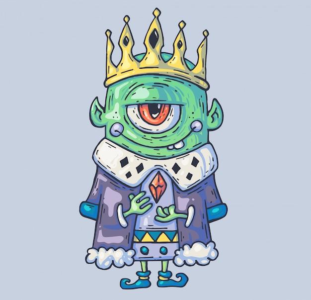 ドワーフとトロールの王を洞窟します。漫画イラスト Premiumベクター