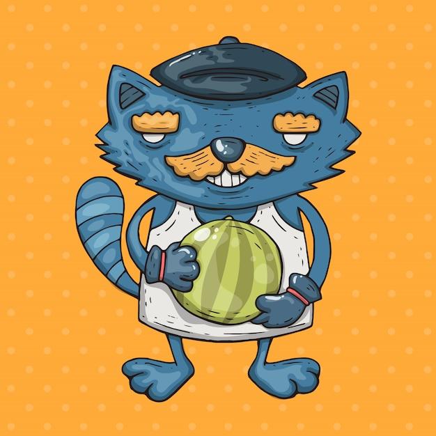 Мультяшный кот с усами держит арбуз. мультфильм иллюстрация в стиле комиксов модных. Premium векторы