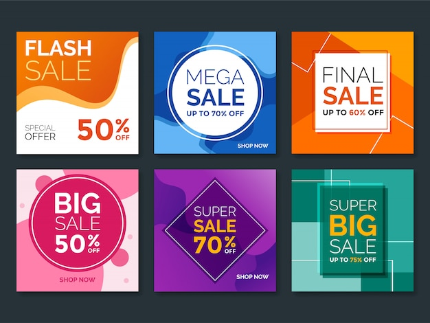 Современный баннер продаж для социальных сетей Premium векторы