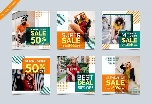 Креативная коллекция баннеров в социальных сетях для продажи моды Premium векторы