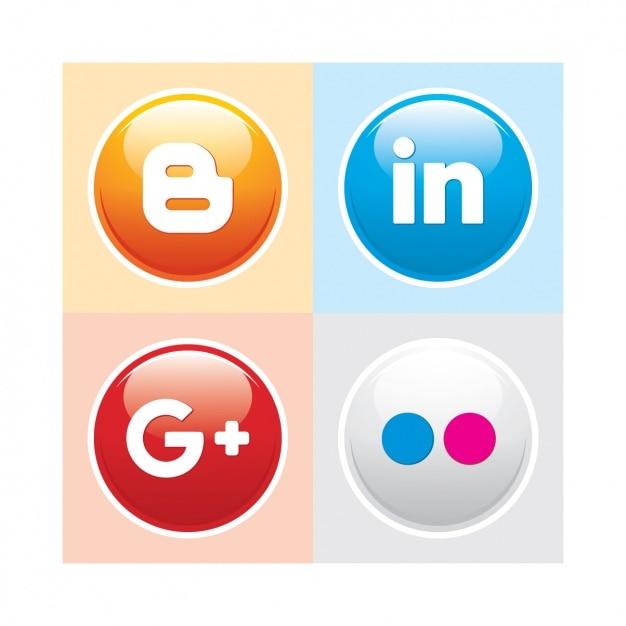 ソーシャルメディアボタンパック 無料ベクター