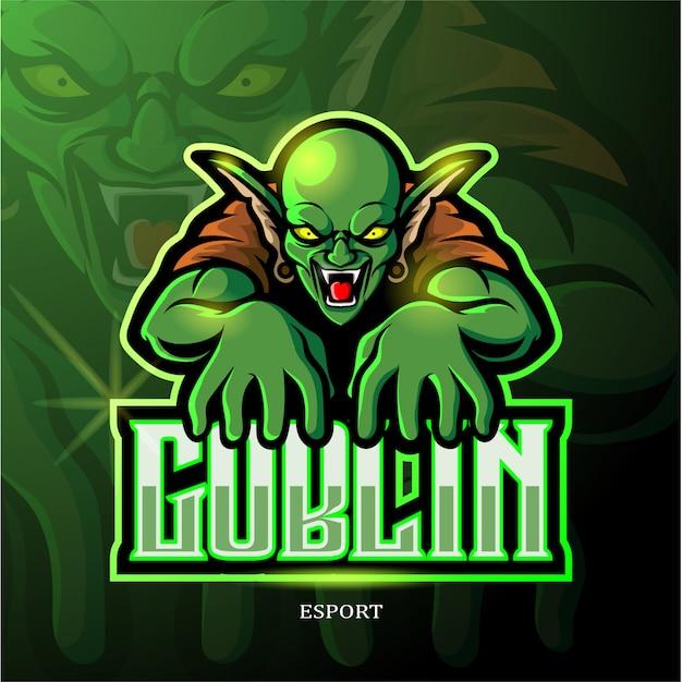 Зеленый гоблин талисман киберспорт дизайн логотипа. Premium векторы