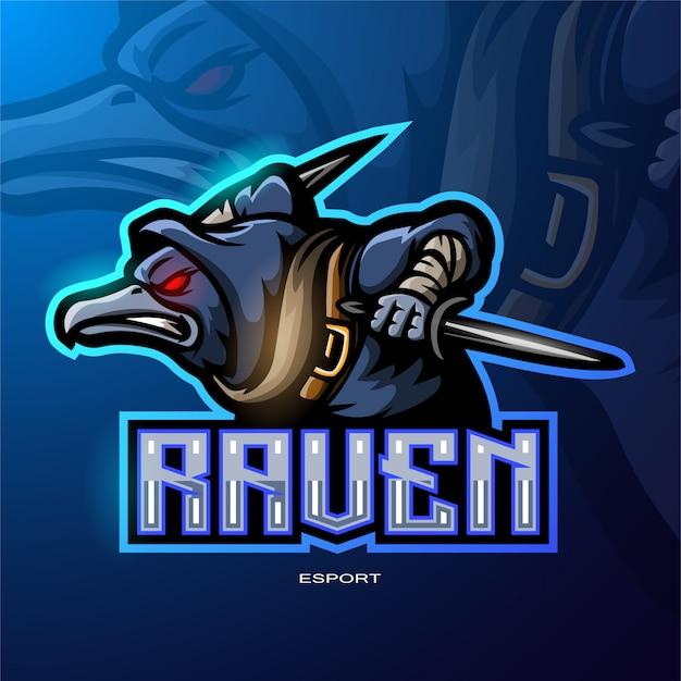 電子スポーツゲームロゴのレイヴンマスコットロゴ Premiumベクター
