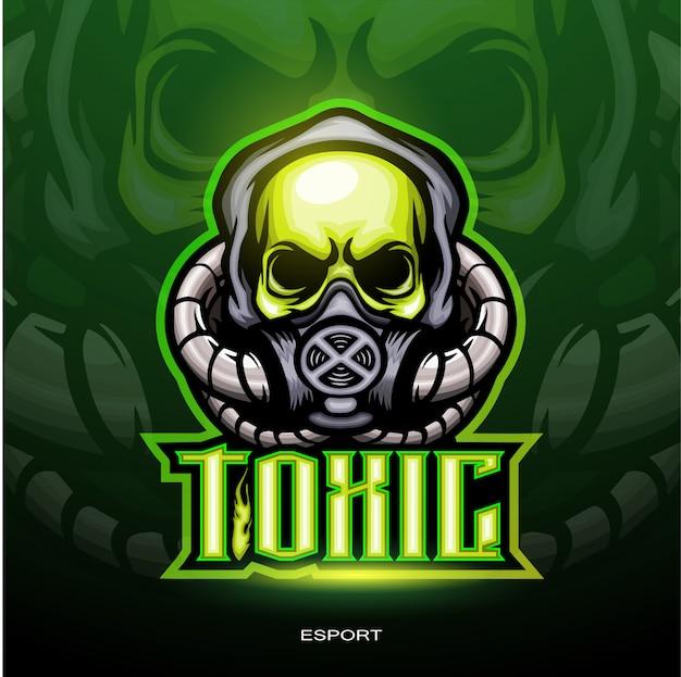 ゲームのロゴのための有毒な頭蓋骨のマスコット。 Premiumベクター