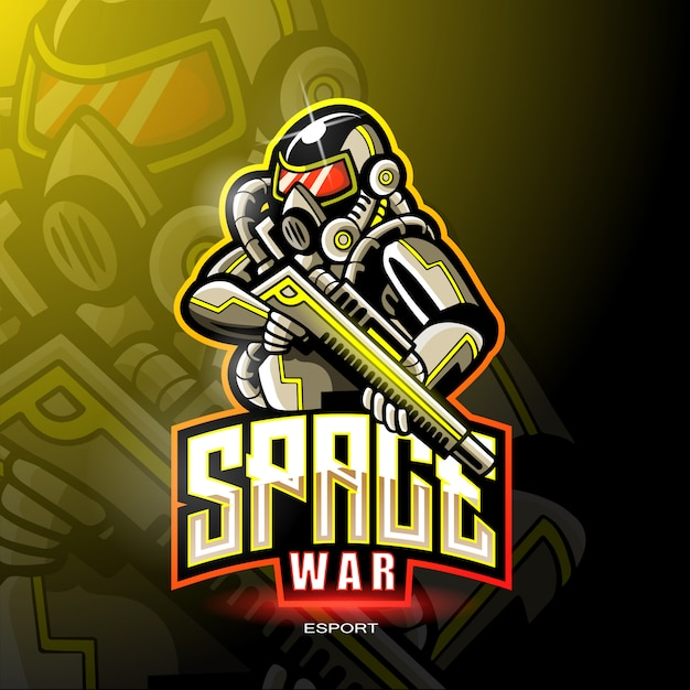 ゲームのロゴのための宇宙戦争のマスコット。 Premiumベクター
