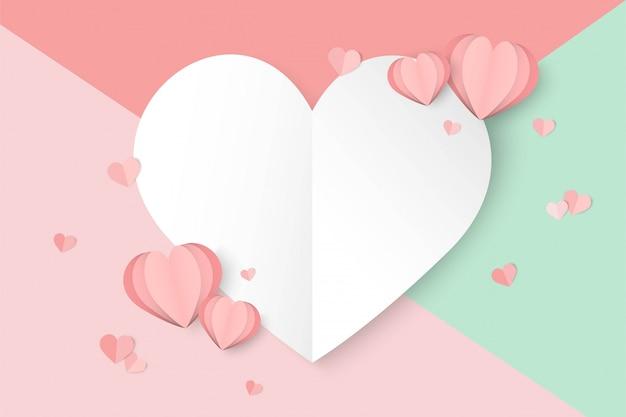バレンタインデーピンクの背景にハート形 Premiumベクター