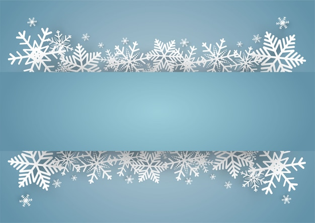 Рождества и счастливого нового года синий фон вектор со снежинкой Premium векторы