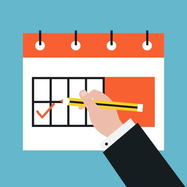 時間管理と計画イベントフラットベクタイラストデ ザイン日付計画