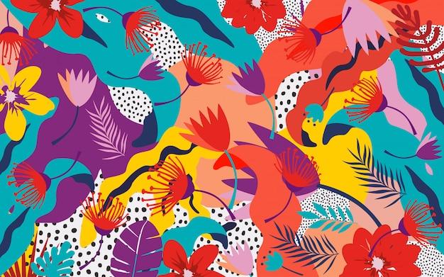 熱帯のジャングルの葉と花の背景 Premiumベクター