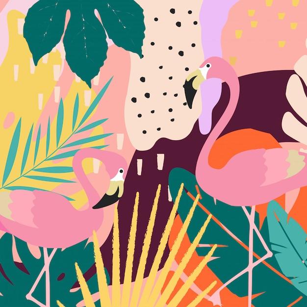 熱帯のジャングルの葉のフラミンゴとポスターの背景 Premiumベクター