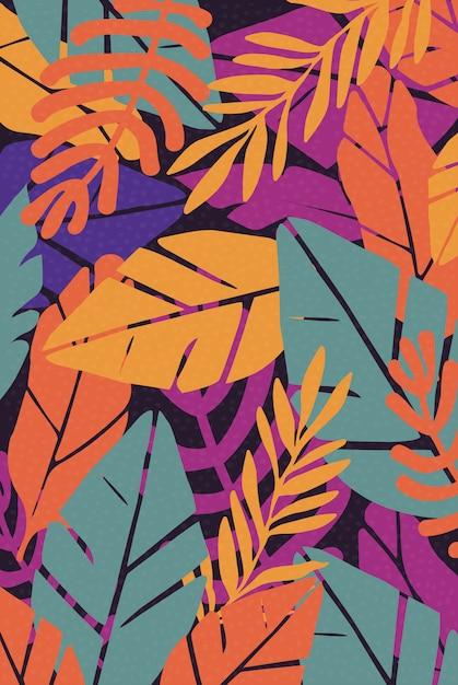 Разноцветные листья бесшовный фон фон Premium векторы