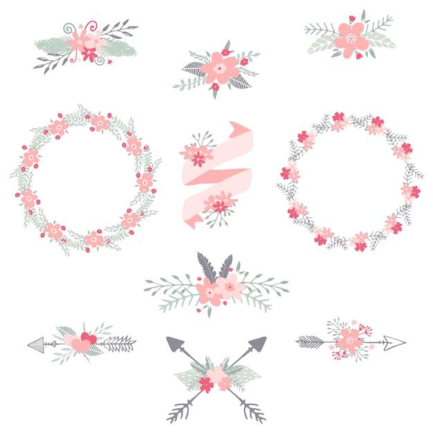 花輪リボン花手描きのイラスト結婚式の招待状とカードの装飾的な