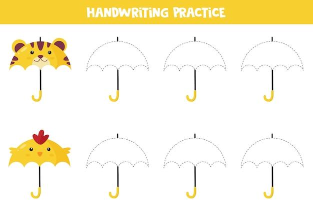 就学前の子供のための教育用ワークシート。手書きの練習。傘をトレースします。 Premiumベクター