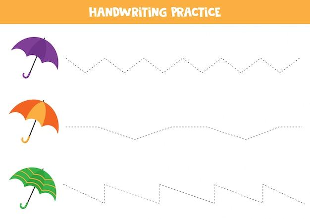手書きの練習。トレースライン。カラフルな傘のセット。 Premiumベクター