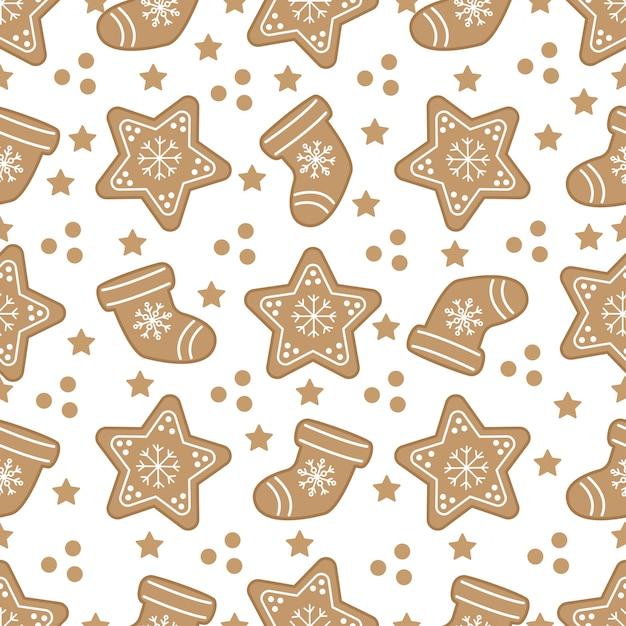 ジンジャーブレッドクッキーとかわいいクリスマスのシームレスパターン。 Premiumベクター