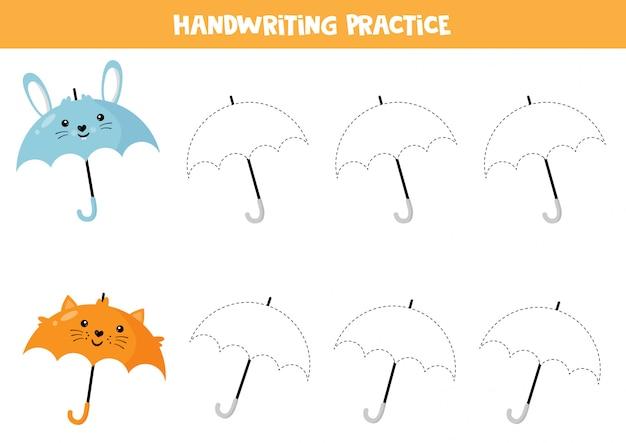 Учебный лист для дошкольников. почерк практика. следовые зонтики. Premium векторы