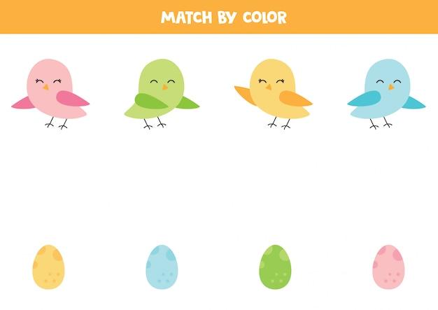 Подберите милых птиц и их яйца по цвету. Premium векторы