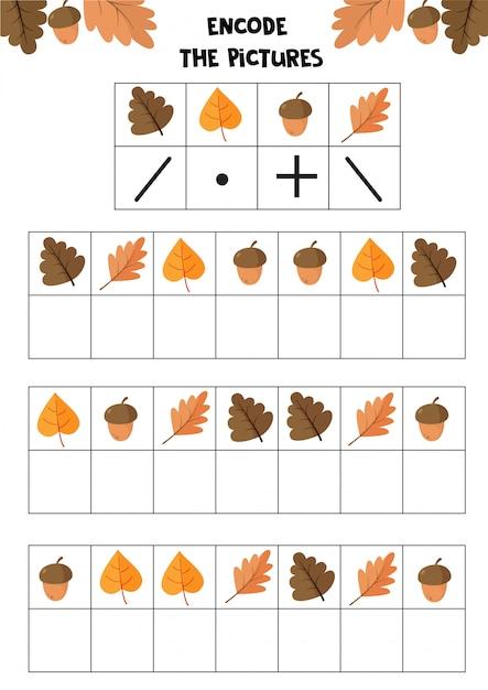 Учебный лист для детей. кодировать картинки. логическая игра для детей. осенний набор. Premium векторы