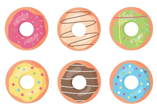 Набор красочных и украшенные пончики. Premium векторы