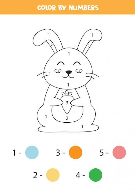 数字でウサギを着色します。 Premiumベクター