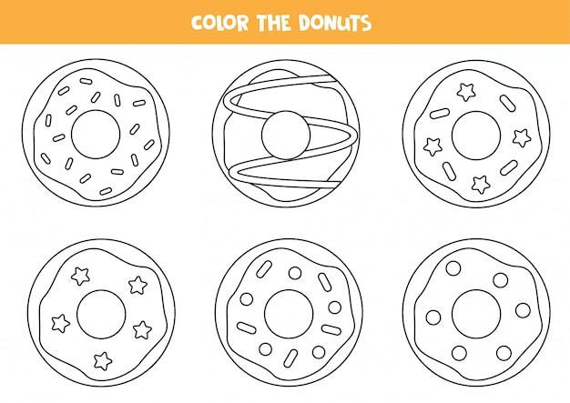 ドーナツのセットに色を付けます。就学前の子供のための着色ページ。 Premiumベクター