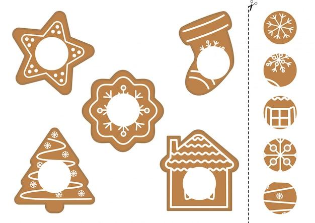 かわいいジンジャーブレッドクッキーの正しい部分を見つけます。子供向けの論理ゲーム。 Premiumベクター