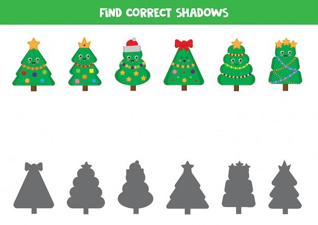 クリスマスツリーとその影を一致させます。子供向けの論理ゲーム。 Premiumベクター