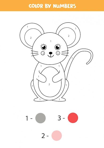 子供のための数学のぬりえ。かわいい漫画のマウス。 Premiumベクター
