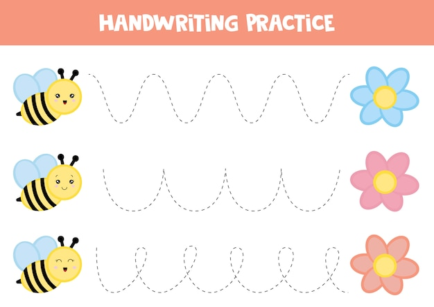 子供のための教育用ワークシート。トレースライン。手書きの練習。蜂と花。 Premiumベクター