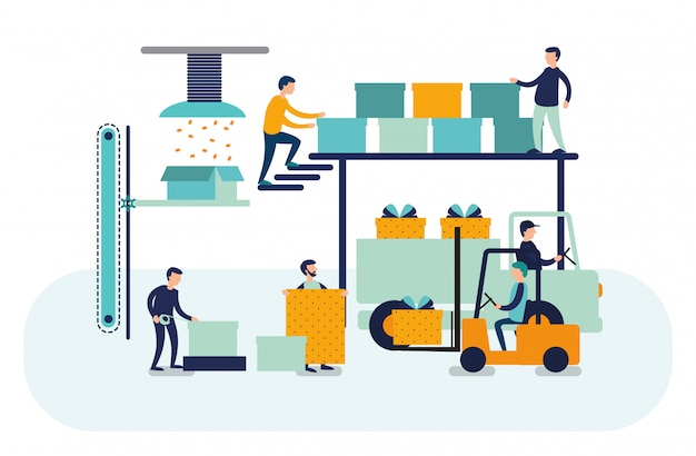 Плоский дизайн концепции деловых людей. успешная команда Premium векторы