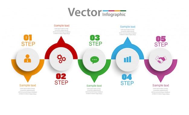 Инфографика дизайн с пятью вариантами, этапами или процессами Premium векторы