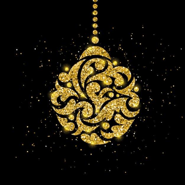 金のボールの装飾とクリスマスのグリーティングカード Premiumベクター