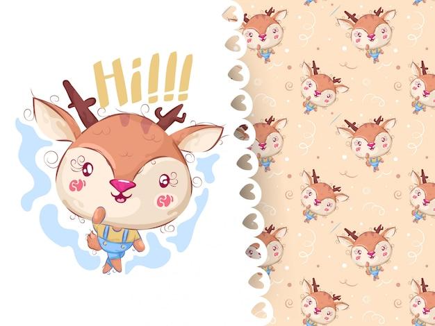 かなり鹿手描きの動物とパターン Premiumベクター