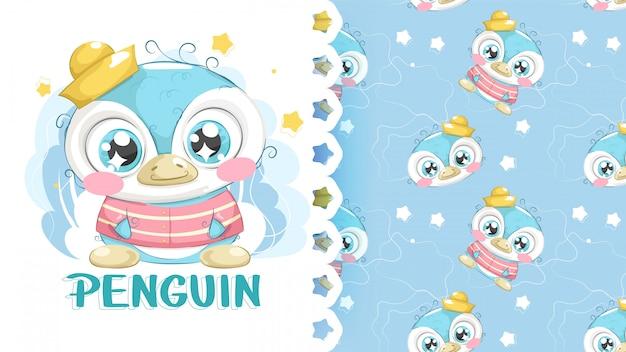 Симпатичный рисунок пингвина с узором фона Premium векторы