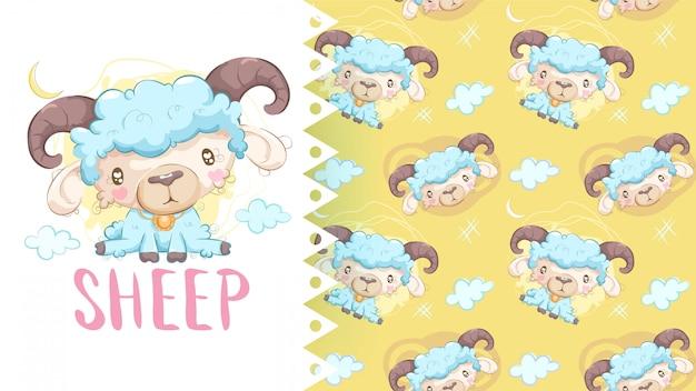 パターンの背景を持つ羊のかわいい図面 Premiumベクター