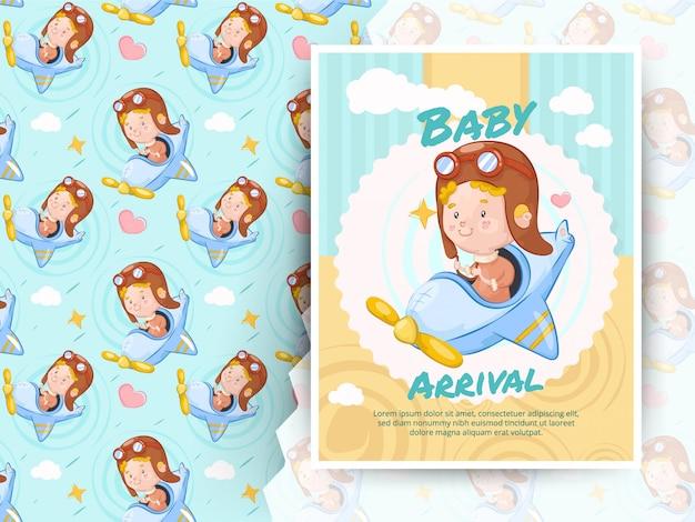 飛行機のおもちゃに乗って小さな男の子。赤ちゃん到着カードとパターン Premiumベクター