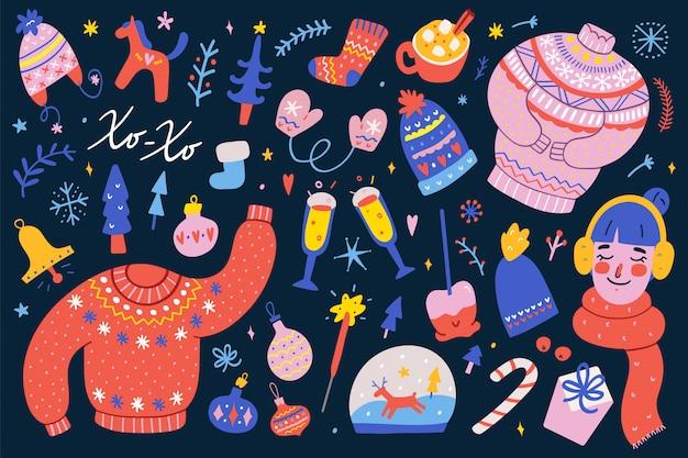 クリスマスクリップアートのコレクション Premiumベクター