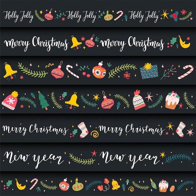 Декоративные рамки с каракули иллюстрации на рождество Premium векторы