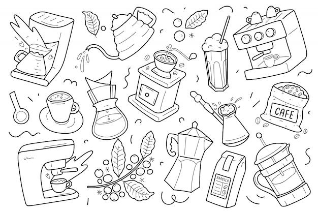 Иллюстрации инструментов и посуды для приготовления кофе Premium векторы