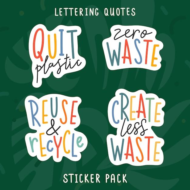 Рукописные буквенные фразы, посвященные вопросам экологии и экологии Premium векторы